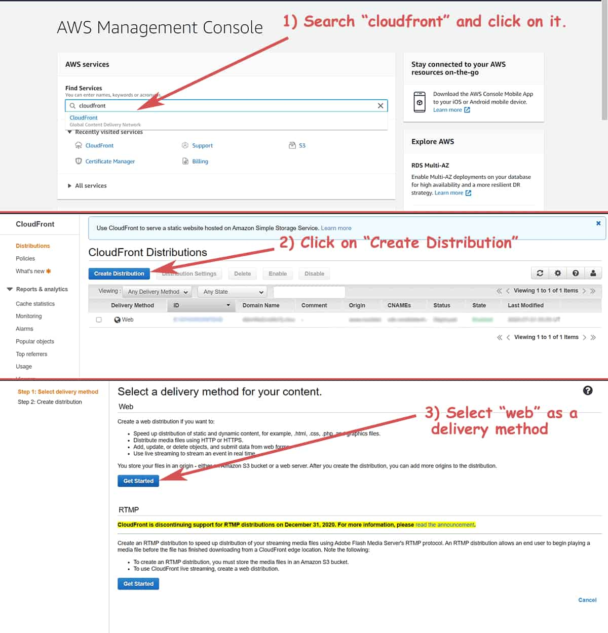 Create Distribution to set up CloudFront for WordPress