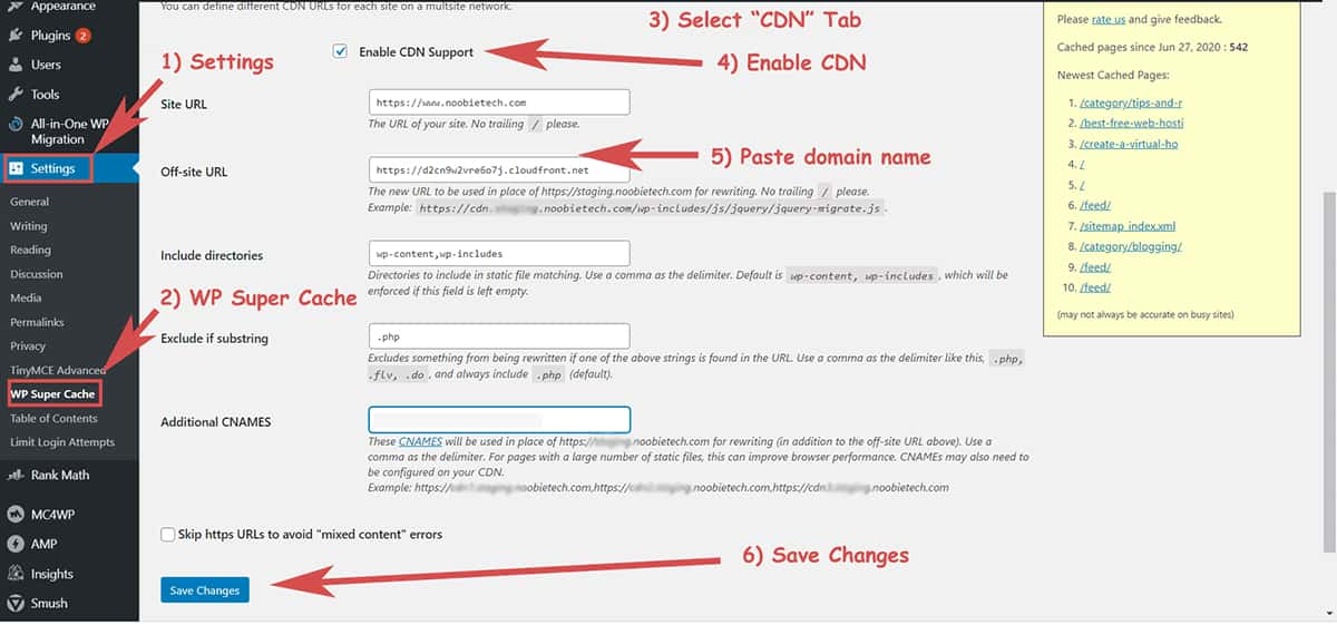 Set Up CloudFront CDN for WordPress using WP Super Cache