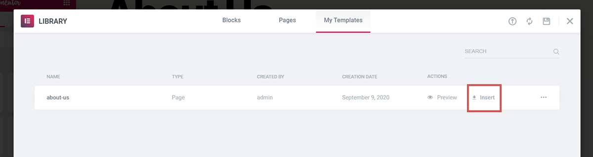 Insert saved page template elementor - Duplicate a page in Elementor